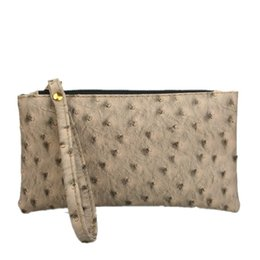 Saco de embreagem de couro de avestruz on-line-Novo saco das mulheres, Clássico sacos de embreagem, bolsa de moda de couro menina avestruz padrão carteira, bolsa de mulher, embreagens de dia de couro