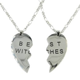 Wholesale Witch Jewelry Wholesale - Stainless Steel Best Witches Good Friends Series Heart Shaped Necklace Pendant Body Jewelry with 24 inch Chain