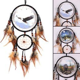 Wholesale eagle sky - Eagle Bear Wolf Design Handmade Dream Catcher With Feathers Animal Pattern Car Wall Hanging Decorations Ornament DreamCatcher