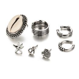 Ohrstulpe online-Bohemian Vintage Ohrclips Für Frauen Modeschmuck Sets Silber Schöne Shell Geometrie Form Ohrstulpe Ohrringe 7 teile / satz D572L
