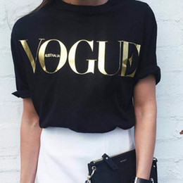 Wholesale graphic tops - Summer VOGUE T Shirts for Women T-shirt Gold Letter Women Short Sleeve Crew Neck Graphic Tees Casual Womens Tops 5 Color