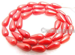 Wholesale Natural Red Coral Jewelry - 5*9mm Drop Red Natural Coral Beads for Jewelry Making necklace strand