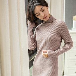 2020 женские кашемировые платья 2018 womens winter Cashmere Blending sweaters and autumn women knitted Pullovers Long sweater Warm Female Slim Elasticity dress дешево женские кашемировые платья
