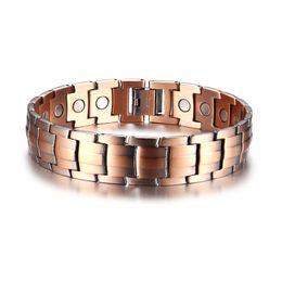 bio magneten Rabatt Red Copper Magnetic Bracelet für Männer Magnete Bio Elements Energy Bracelets Bangles Vatertagsgeschenk