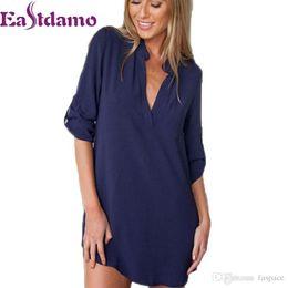 Wholesale- 2017 Womens Chiffon Sexy V Neck T-Shirt Nightgowns Plus Size  Long Sleeve Slik Sexy Nightie Sleepwear Dress Sexy Nightdress XL 0dad6080a