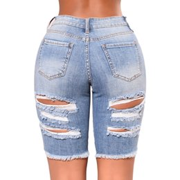 Argentina Charming Women Fashion High Waist Half Ripped Jeans Street Hole Slim Torn Femme Denim Shorts supplier half jeans Suministro