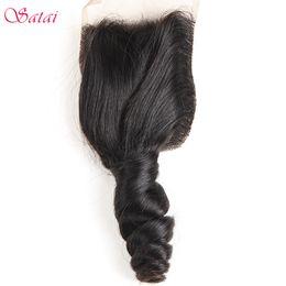 "цвет волос для азиат Скидка Satai Hair 4""x4"" Lace Closure 100% Human Hair Natural Color Loose Wave Remy 10-18 Inches Free Part Products"