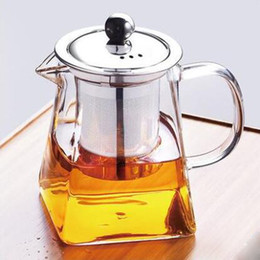 Wholesale Glass Blown Pieces - High-grade Blown Glass Tea Coffee Set Resistant Bottle Cup With Infuser Tea Leaf Herbal of Borosilicate Square Teapot