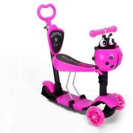 710d3c040 Niños bebé scooter niños 5in1 PU 3 ruedas Intermitente Swing Car Lifting  2-15 años de edad paseo en bicicleta de paseo vehículo juguetes al aire  libre