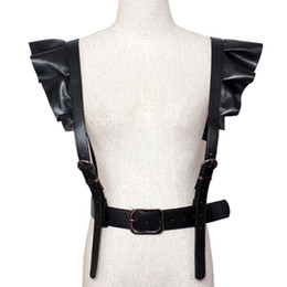 Wholesale Harness Belt Leather Women - 2017 hot new Personality Shoulders sexy Belt Faux Leather Body Bondage Corset female Harness Waist Belt Straps Suspenders