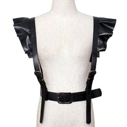 Wholesale wide leather corset belts women - 2017 hot new Personality Shoulders sexy Belt Faux Leather Body Bondage Corset female Harness Waist Belt Straps Suspenders