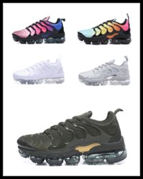 Wholesale Poly Packing - Vapormax TN Plus VM Sneakers Olive Metallic White Silver Colorways Running Shoes Men Shoes Male Shoe Pack Triple Black Mens Athletic Shoes