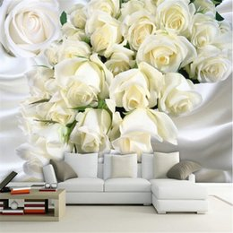 Wholesale Fantasy Photos - beibehang Custom photo wallpaper wall stickers large murals fashion fantasy beautiful roses simple sofa bedside background wall