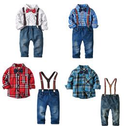 Wholesale denim plaid pants - Boys Gentlemen Suit 4-pcs Long Sleeve Shirt Cotton Bow Tie Jeans Denim Pants Suspenders Kids Four-piece Clothing Sets 2-7T