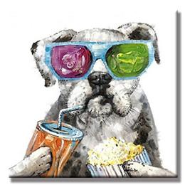imagens de funny art Desconto Grande Modern Animal Artes De Parede Pintura Artesanal Engraçado Comendo Dog Pictures Pintados À Mão Abstrata Dos Desenhos Animados Pinturas A Óleo sobre Tela