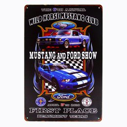 Wholesale decorative wall art paintings - Vintage Style All American muscle classic mustang Decorative Metal Signs 20x30cm iron Painting Bar Pub wall art metal plates