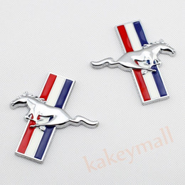 Wholesale Ford Trim - Pair Chrome 3D Decal Sticker Car Badge Accessories For Ford Mustang Logo Emblem Trim