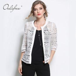 Wholesale Ladies Summer Lace Cardigan - Wholesale- 2017 Plus Size Wome Clothing 5XL 4XL XXXL Ladies White Lace Blouse Summer Cardigan Coat Black Crochet Sexy Female Blouse Shirt