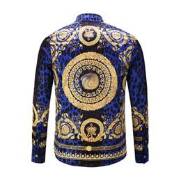 2019 camisa de seda plateada para hombre M Casual 2017 hombres de la impresión floral del color de mezcla de lujo Harajuku camisas mangas largas camisas medusa tigre de impresión de la camisa para hombres impresa - 2XL