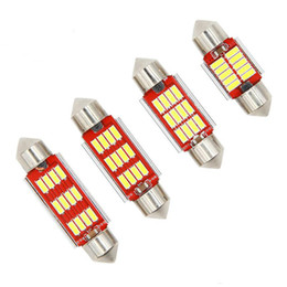 Ampoules de dôme intérieur en Ligne-Voiture Auto 31/36 / 39mm 41mm Feston Dôme 12SMD 4014LED CANBUS aucune erreur plaque d'immatriculation lecture ampoule intérieure blanche DC12-24V