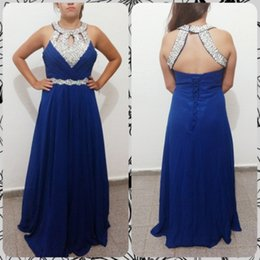 empire beaded halter prom dress Coupons - Beaded Halter Neck Chiffon Evening Dresses 2020 Lace Up Evening Gowns New Royal Blue Long Prom Dresses