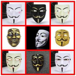 V vendetta amarilla online-Nueva máscara V Vendetta blanco amarillo Máscara Anónimo Guy Fawkes Disfraz de fantasía para adultos Máscaras de Halloween Mascarada V Máscaras para Halloween