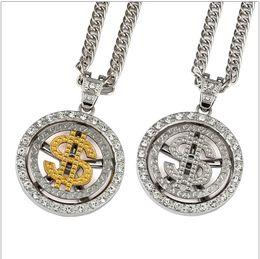 In oro placcato catene spesse online-Stile Rap hip-hop 9mm Spessa 80cm Lunga corda US Dollar Logo Catena 18K oro placcato argento collana attorcigliata per uomo
