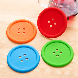 Wholesale Placemat Silicone - New Fashion Multiple Colors Silicone Cup mat Cute Colorful Button Bottle Coaster Cushion Holder Drink Cup Placemat Mat Pads Coffee Pad