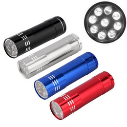 Wholesale mini torches - 9 led Mini Flashlight white Led Lamp Protable small pocket Flash Light torch penlight keychain high powerful for hiking camping