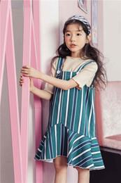 Wholesale Long Sleeveless Stripped Dresses - 2018 New Korea style girl tank dress sleeveless stripped print dress charming summer cool long dress 110-160cm