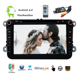 Wholesale auto car system - Backup Camera+Android 6.0 Car DVD Player Double Din Car Stereo System 8'' Capacittive In Dash GPS Navigation Auto Radio Canbus Bluetooth WiF