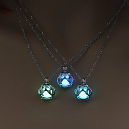 Wholesale Dog Paws - Glow In The Dark Necklace Metal Pet Cat Necklaces For Woman Animal Dog Paw Hollow Pendant Night luminous Light Accessories Chain 162654