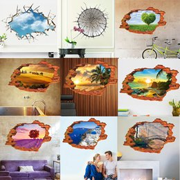 Pittura ad albero blu cielo online-soffitto Mare Ocean Tree Blue Sky 3D pittura di paesaggio finestra foro adesivo muro casa decalcomanie per coppia casa matrimonio decorativo