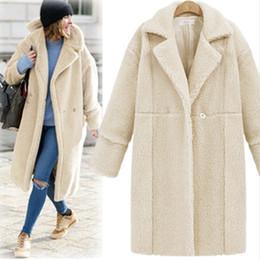 Wholesale Women Beige Coat Cashmere - New Women Coats Fashion Long Sleeve Pure Color Long Coat Cashmere Coat Woolen Coat Female 2017 Winter