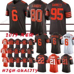 Marrones camiseta 73 online-6 Baker Mayfield Cleveland Brown jersey 80 Jarvis Landry 73 Joe Thomas 21 Denzel Ward 95 camisetas de Myles Garrett