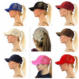 Wholesale Wholesale Back - CC Ponytail Cap Messy Bun Women Ponytail Caps Cap Fashion Girl Basketball Hats Back Hole Pony Tail KKA4383