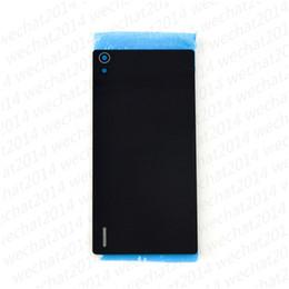 Novo Voltar Tampa de Vidro Da Bateria Caso Habitação Porta Com Adesivo + Lente Da Câmera + Speaker Mesh para Huawei Ascend P7 de