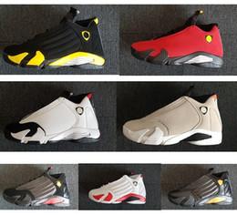 Comprar sapatos de dedos on-line-Grupo comprar novo 14s 14 Indiglo Oxidado Verde Trovão Fusão Varsity Red Camurça Preto Toe Cool Men Cinza tênis de basquete tênis de alta qualidade