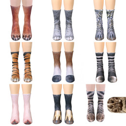 Wholesale Wholesale Golf Socks - adults animal Paw feet socks Unisex Adult Animal Crew Socks 3d print sports socks children digital printing simulation