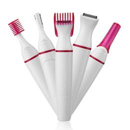 цены триммеров Скидка 5 в 1 женщины для удаления волос бритвы женский электрический станок для бритья мини триммер бритва триммер бикини для бровей лица