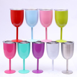 Wholesale Art Stocks - 9 colors in stock! 10oz metal goblet stianless steel red wine glass with lids Tumbler cup solid Thermos Party cup
