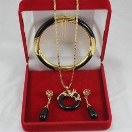 Wholesale China Green Jade Dragon - beautiful fashion black jade soild dragon pendant earrings bracelet set <<<free shipping