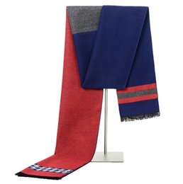 Wholesale Striped Cotton Scarves - Men Scarf Winter Autumn Men Scarves Wrap Shawl Thick Striped Men's Scarf Warm Cotton Cashmere Wool Blended Knit Brushed