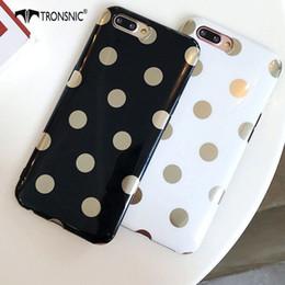 Iphone point blanc en Ligne-Coque iPhone 6S 6 7 8 Plus pour iPhone X XS MAX XR Coque dorée à pois doux