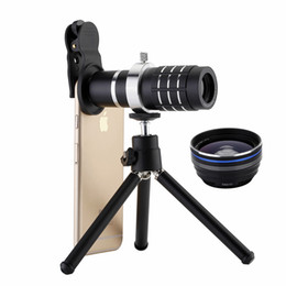 Wholesale 12x Zoom Lens Mobile Phone - 3 in 1 12X 18X Zoom Lens + 0.45X Wide Angle Lens +15X Macro Lens For iPhone Samsung Huawei Mobile Phones Universal Phone