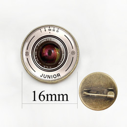 Wholesale Glass Ball Lens - Fashion Vintage Mistery Camera Lens With Words European Retro Pendant Brooches pins Jewelry For Girl Women badge