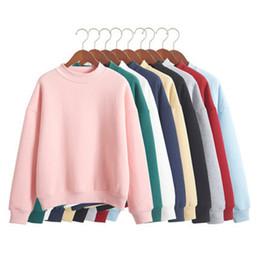 Wholesale thick fleece coat - Wholesale M -Xxl Cute Women Hoodies Pullover 9 Colors 2017 Autumn Coat Winter Loose Fleece Thick Knit Sweatshirt Female