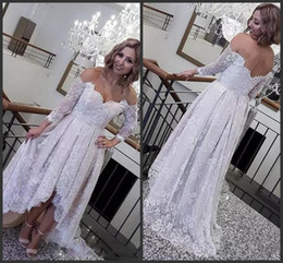 Wholesale Long Sleeve Low Back - 2018 New Off The Shoulder Long Sleeves Bridal Gowns Low Back Beach Wedding Vestidos Cheap Custom Made Retro Lace High Low Wedding Dresses