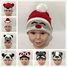 Cane di inverno del bambino online-Baby Cartoon Animal Knit Caps Panda Bear Dog Fox Owl Deer Babbo Natale Pupazzo di neve Design Caldo Bambini Cappello di pelliccia Cap invernale cappelli