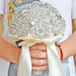 bouquet di lusso Sconti DIA 20CM Luxury Full Crystal Bouquet da sposa Fatto a mano Nastro Fiore Damigella d'onore Bouquet da sposa Moda acces